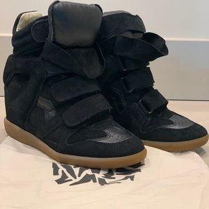 Isabel Marant Black Suede Beckett Wedge Sneakers.